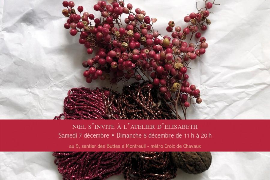 samedi 7 et dimanche 8 décembre dans l'atelier d'Elisabeth Cerqueira